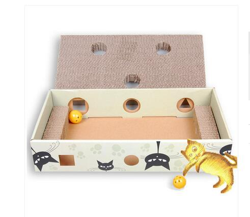 Rattle Inside Cat Scratch Box Cardboard Solid Provide Stretching Adventures