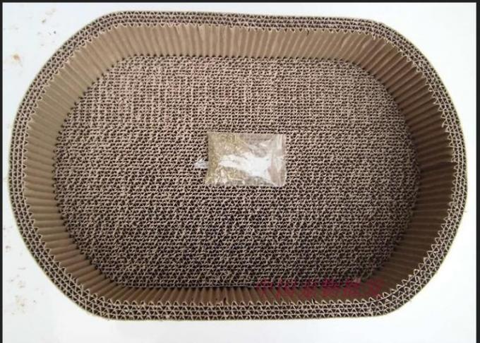 Textured Corrugated Cat Scratcher ,  OEM Cardboard Scratching Box For Cats