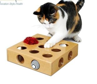 China MDF Material Cardboard Cat Bed 24X24X6.5cm Original Colour Playing Ball Inside supplier