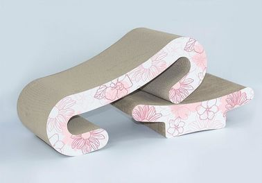 China Curved Corrugated Cardboard Cat Scratcher Comfortable 4C Printing Colour supplier