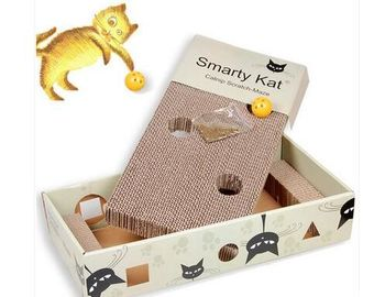 China Rattle Inside Cat Scratch Box Cardboard Solid Provide Stretching Adventures  supplier