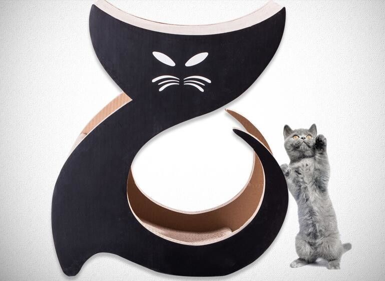 Cat Shaped Cardboard Scratch Pad Corrugated Scratching Surface Protect  Furniture