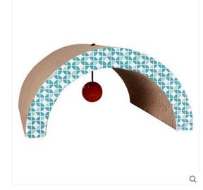 China Arch Shaped Cardboard Cat Scratcher SGS , Cardboard Scratching Pad With Cat Toys distributor