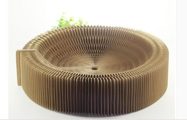 China Round Shape Corrugated Cat Scratcher SGS , Cat Cardboard Bed 10%~20% Moisture distributor