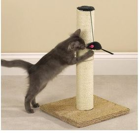 China Durable Sisal Rope Cat Scratching Poles , Outdoor Cat Scratching Post Sturdy Base distributor